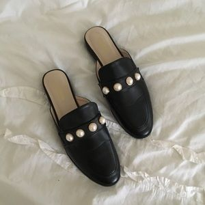Studded leather mules